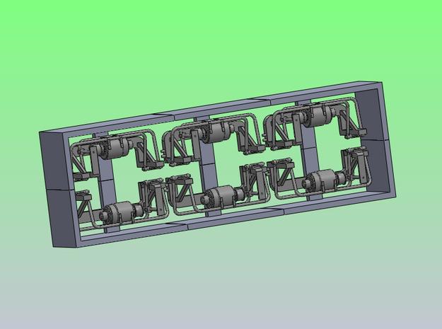 BoxGen6 3d printed Set of six generators in support frame, design image