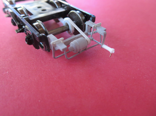 BoxGen6 3d printed Generator mounted on Branchline Trains truck. Scratchbuilt styrene details - drive belt, axle pulley and spring tensioner (shown in white) not included