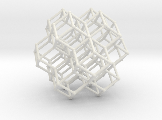 Sacred Geometry RhombicDodeca Honeycomb 50mm  in White Natural Versatile Plastic