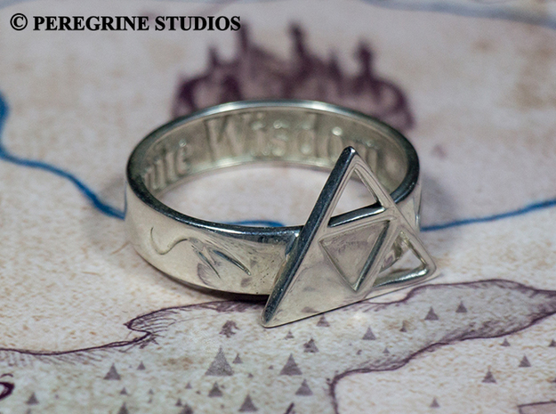 Ring - Triforce of Wisdom in Polished Bronzed Silver Steel: 13 / 69