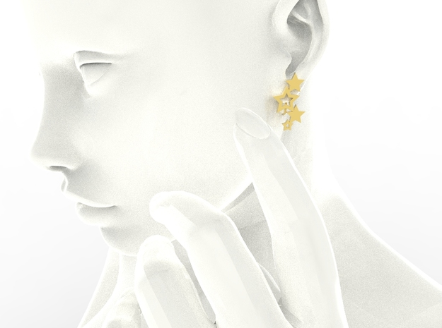 Earring Star 1011 in 18k Gold Plated Brass