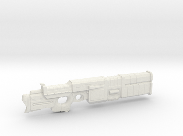 1/6th Scale Railgun MK II Folded in White Natural Versatile Plastic