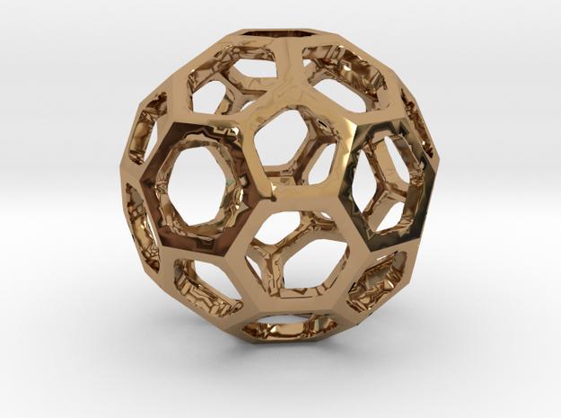 Truncated Icosahedron pendant in Polished Brass