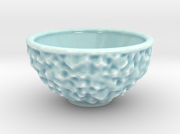 DRAW bowl - ceramic inverted geode in Gloss Celadon Green Porcelain