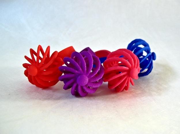 Fidget Ring - Turbine spinner ring in Pink Processed Versatile Plastic: 5 / 49