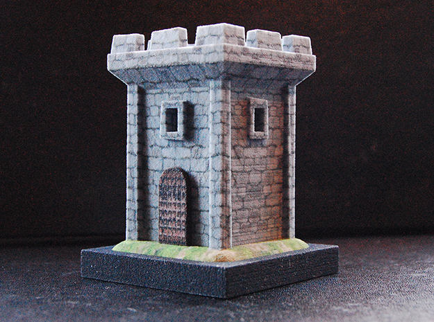 Medieval Tower in Full Color Sandstone