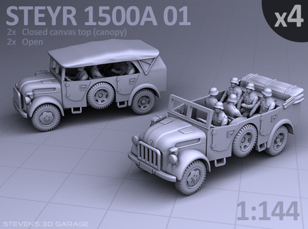 STEYR 1500A 01 - (4 pack) in Smooth Fine Detail Plastic