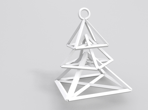Hovering Pieces Christmas Tree Earrings in White Natural Versatile Plastic