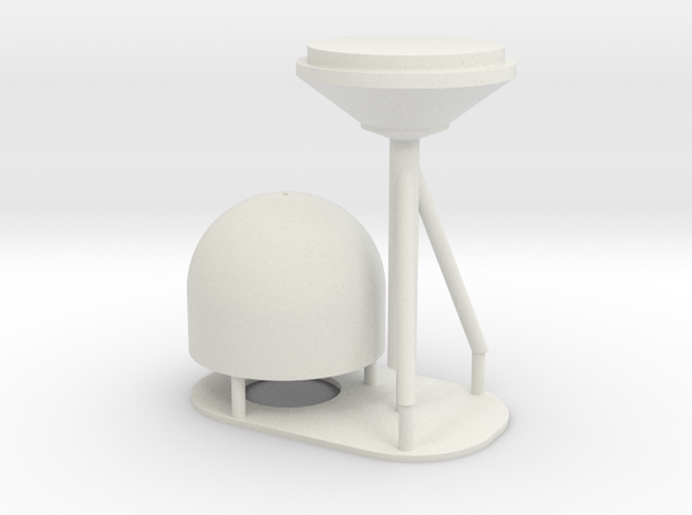 1:96 scale SatCom Dome - with stand in White Natural Versatile Plastic
