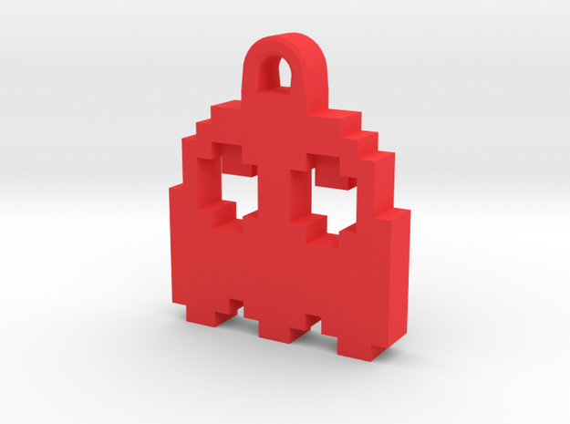 Pac Man Ghost 8-bit Earring 2 (looks up) in Red Processed Versatile Plastic