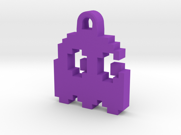 Pac Man Ghost 8-bit Earring 2 (looks right) in Purple Processed Versatile Plastic