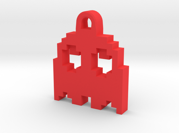 Pac Man Ghost 8-bit Earring 2 (looks up | moving) in Red Processed Versatile Plastic