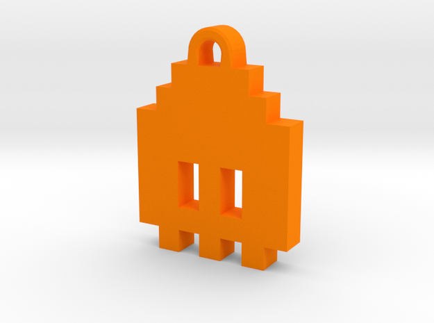 Pac Man Ghost 8-bit Earring 1 (looks down) in Orange Processed Versatile Plastic