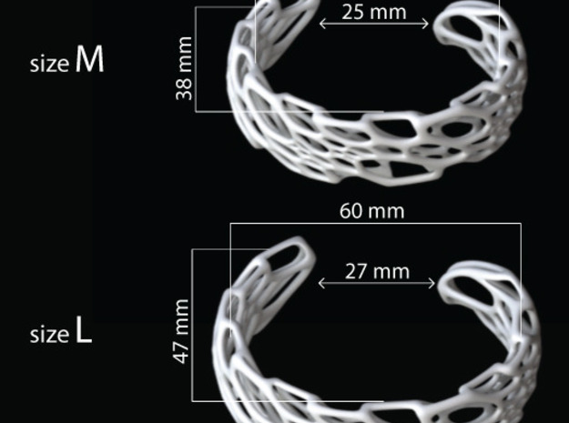 Bone Cuff sz S/M 3d printed sizing guide