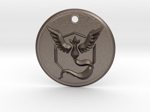 Team Mystic Pendant- Pokemon Go in Polished Bronzed Silver Steel