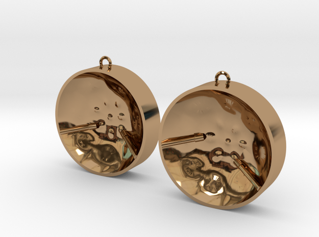 "Double Tenor ""damntingself"" earrings, L in Polished Brass"