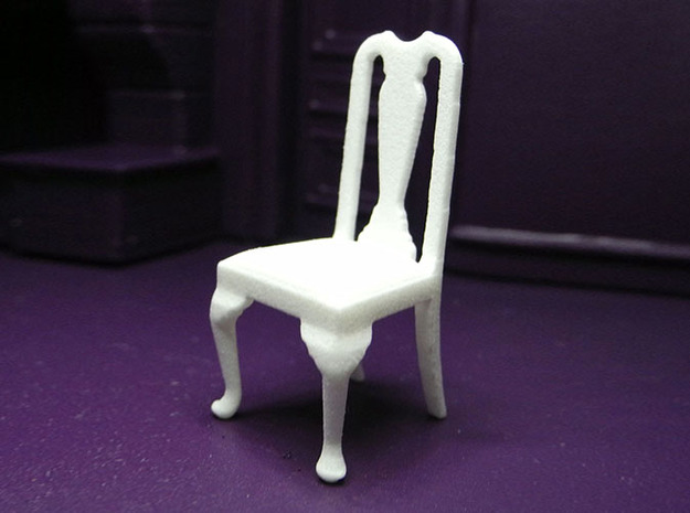 1:24 Queen Anne Chair 3d printed Printed in White, Strong & Flexible