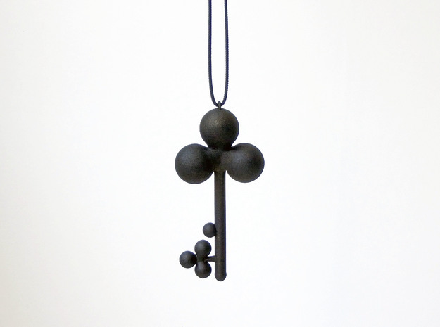 Clover Key Pendant 1 in Black Natural Versatile Plastic