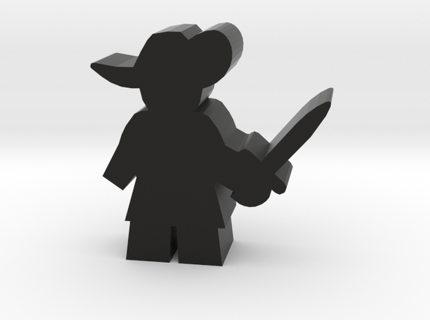 Game Piece, Musketeer, sword standing in Black Natural Versatile Plastic