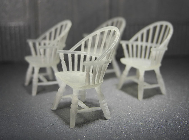 1:48 Sack Back Windsor Chairs in Smooth Fine Detail Plastic