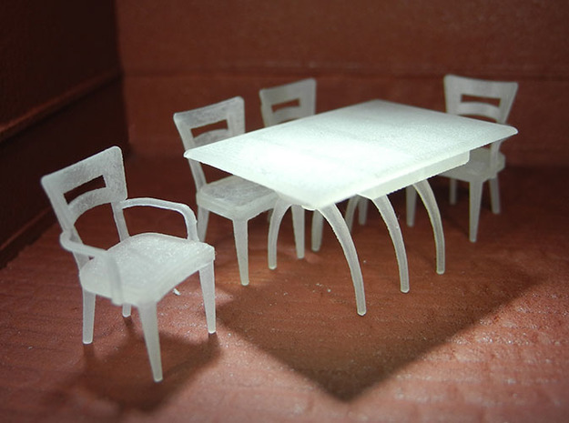 1:48 Moderne Dining Set in Smooth Fine Detail Plastic