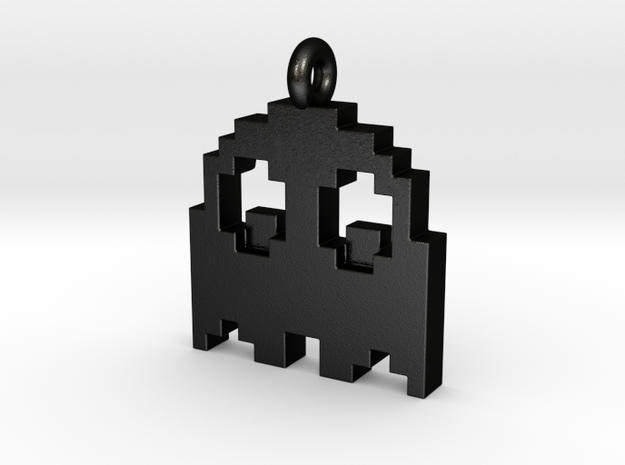 Pac-Man Pendant - Ghost (rounded corners) in Matte Black Steel