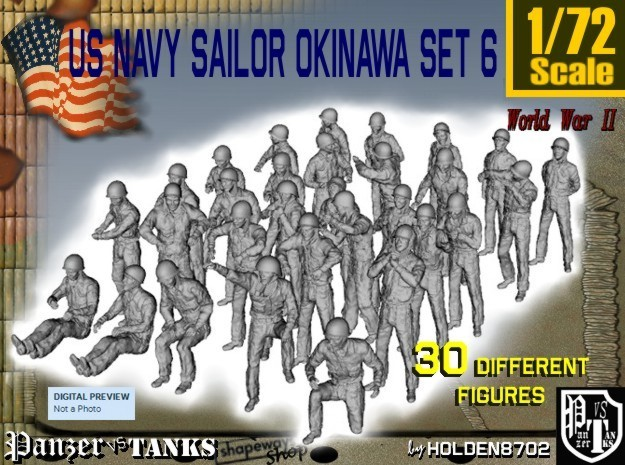 1/72 US Navy Okinawa Set 6 in Smooth Fine Detail Plastic