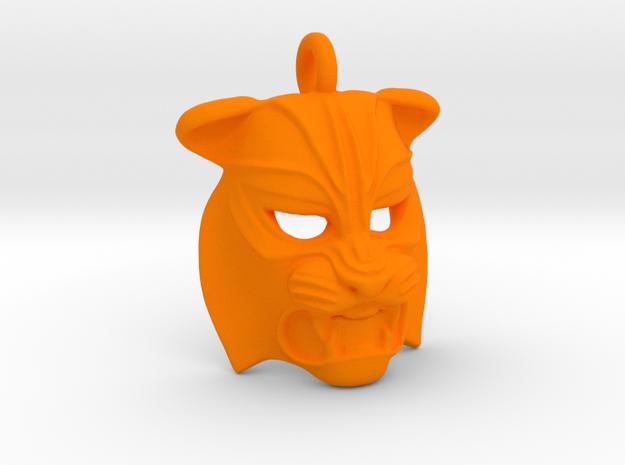 Plastic Tiger Small Pendant  in Orange Processed Versatile Plastic