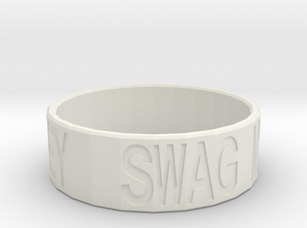 """Swag Money"" Ring, 24mm diameter in White Natural Versatile Plastic"