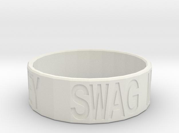 """Swag Money"" Ring, 24mm diameter in White Natural Versatile Plastic"