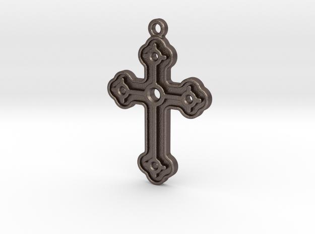 Greek Cross in Polished Bronzed Silver Steel