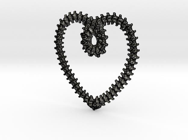 vertebrae heart loop in Matte Black Steel