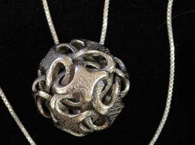 Rhombic Dodecahedron I, pendant 3d printed pendant in stainless steel