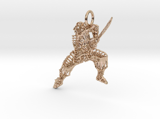 Armored Pendant in 14k Rose Gold Plated Brass