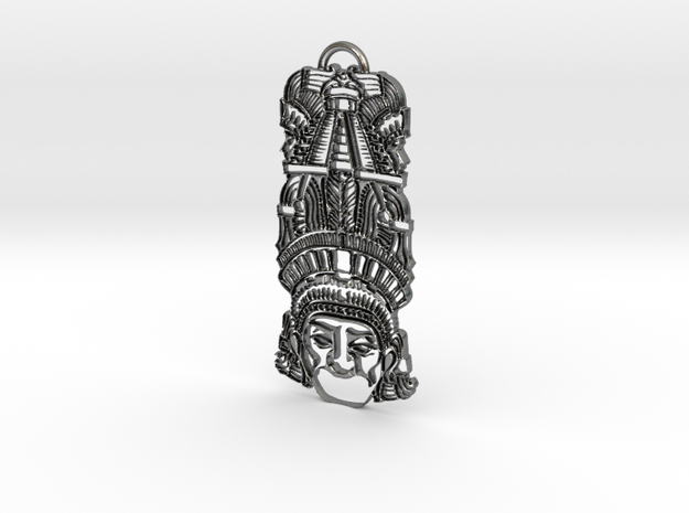 Aztec Totem Pendant in Polished Silver