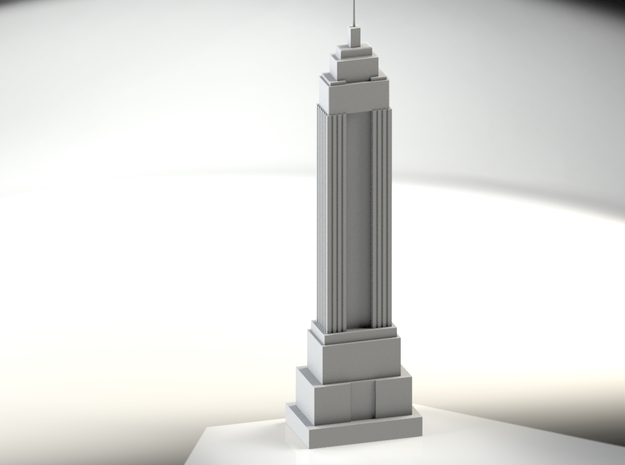 Empire State Building Model (1/2000) in White Strong & Flexible Polished