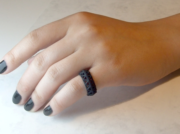 Brilliant Facets - Triangle Ring in Black Strong & Flexible