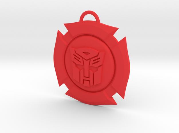 Rescue Bots Symbol in Red Processed Versatile Plastic