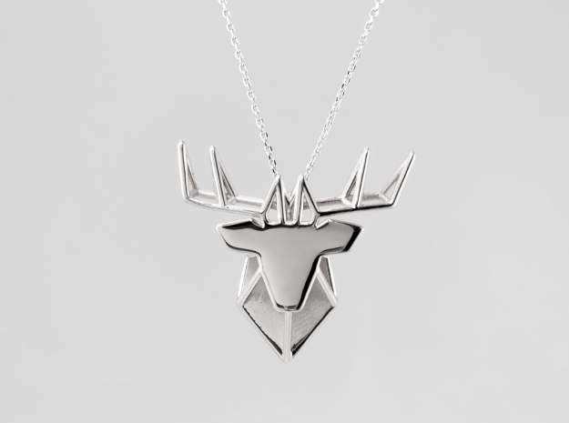 DEER Pendant in Polished Silver