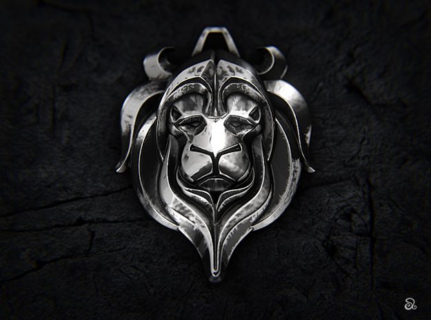 Lion in Polished Bronzed Silver Steel