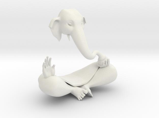 Indian GOD Statue Ganesha in White Natural Versatile Plastic