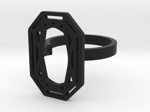 RECTANGLE DIAMOND RING in Black Natural Versatile Plastic