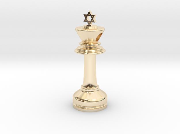 MILOSAURUS Jewelry David Star Chess King Pendant in 14k Gold Plated Brass
