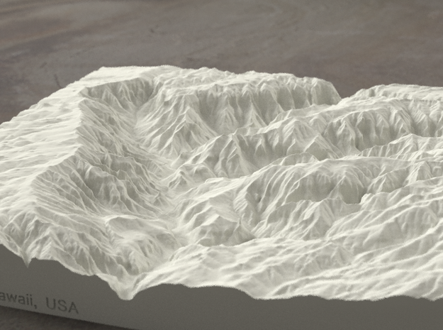 8'' Waimea Canyon, Hawaii, USA, Sandstone 3d printed Radiance rendering of model, viewed from the South