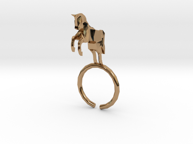 Horse Ring in Polished Brass