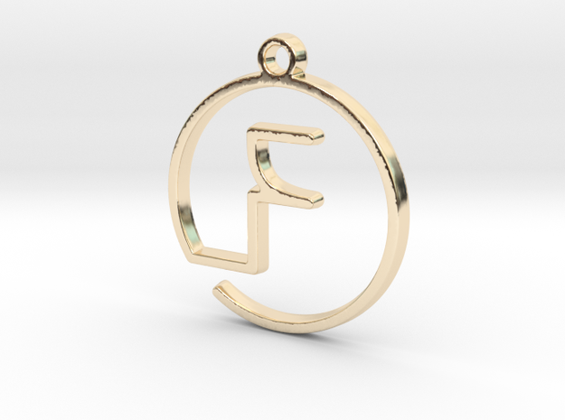 F Monogram Pendant in 14k Gold Plated