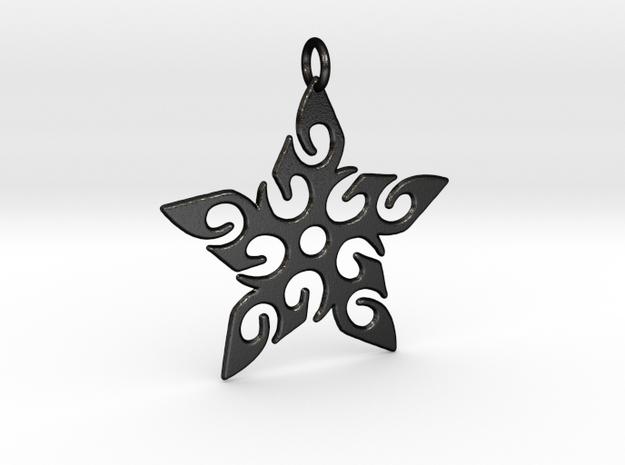 Tribal Star Pendant in Matte Black Steel