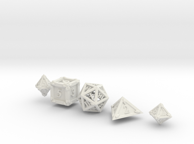 Dice Set Dragonclaws in White Natural Versatile Plastic