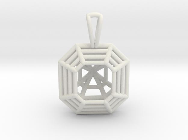 3D Printed Diamond Asscher Cut Pendant  in White Natural Versatile Plastic