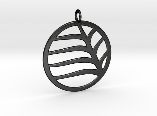 Leaf Pendant in Matte Black Steel